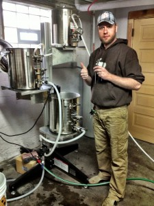 Ben uses an advanced Blichmann set up to brew beer.